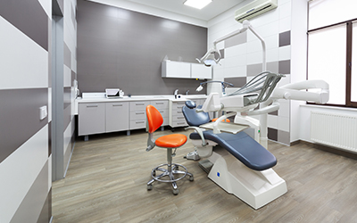 Interor dental office with dental chair